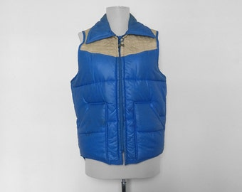 SHOP SALE! Vintage Big Smith Puffy Vest / Blue and Tan / Men's / Unisex / Size Small / 1970s / 1980s