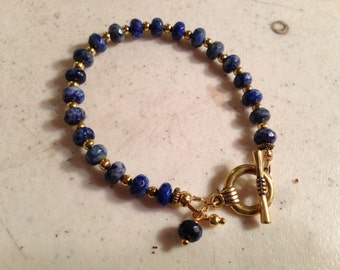Lapis Bracelet - Navy Blue Jewelry - Gemstone Jewellery - Gold - Fashion - Unique -  Beaded