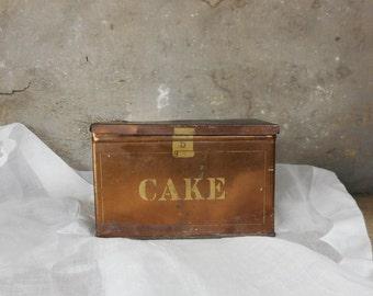 Antique Tobacco Tin Box Leavitt & Peirce Famous Cake Mix Copper w Hinged Lid