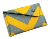 Personalized Business Card Holder - Grey Yellow Chevron