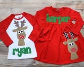 Christmas Dress Shirt Set - Brother Sister Sibling Set -  Christmas Applique Outfits- Reindeer