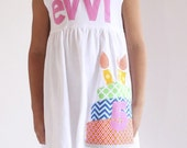 Birthday Dress - Birthday Cake Personalized Birthday Applique Dress- Personalized Dress- You Choose Dress Color and Sleeve Length