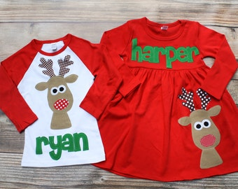 Christmas Dress Shirt Set - Brother Sister Sibling Set -  Christmas Applique Outfits- Reindeer