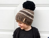 Oversized Pom Pom Hat / Baby Toddler Child Large Pom Beanie / 3 Stripe Giant Pom Pom Hat