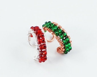 Summer Sale - 10% off - Custom Beaded Ear Cuff - You Pick the Colors - Please read description for instructions