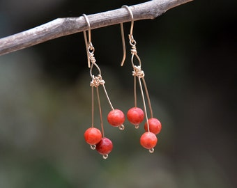 Long Red Coral Earrings Gold Filled Earrings Gold Filled Jewelry Coral Jewelry Dainty Cluster Earrings Tropical Jewelry Free Shipping Israel