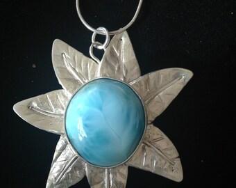 Larimar in fine silver petals