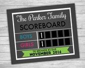 Tie breaker pregnancy annoucement sign - Boys vs Girls Pregnancy Reveal - Sports pregnancy sign - Expecting announcement - Chalkboard poster