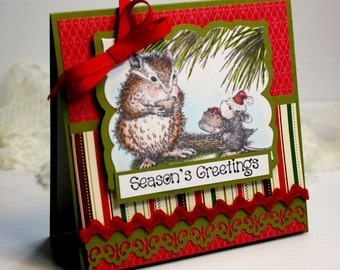 "Christmas Card Handmade Greeting Card 3D 5.25 x 5.25"" Seasons Greetings House Mouse Christmas Tree Holiday Cards Red Green Ribbon OOAK"