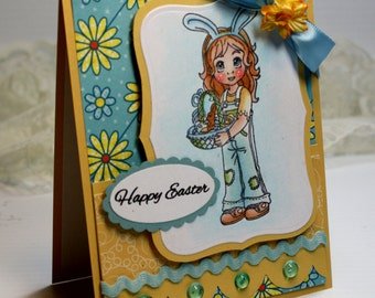 "Easter Card- Handmade Card Greeting Card 5.5 x 4.25"" Happy Easter Cute Whimsical Stationery 3D Card - OOAK"