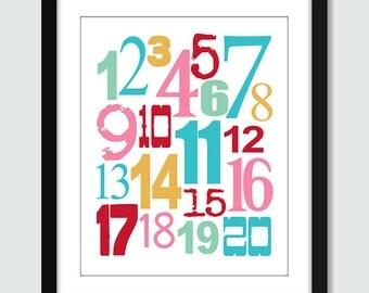Mixed Numbers 123 Wall Art - 8x10 Baby Children Nursery Modern Wall Print Poster