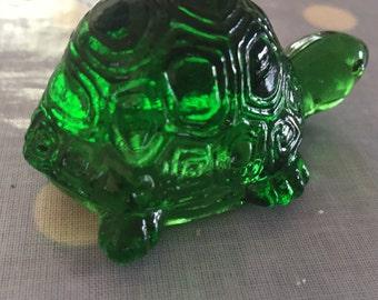 Small vintage green glass tortoise figurine