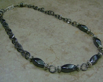 Men's Hematite Twisted Stone Beaded Silver Chain Necklace
