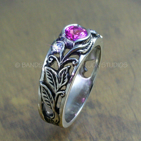 SPRINGTIME Ring - Leaves and Scrolling Vines, in 14K GOLD, Tourmaline, Diamond