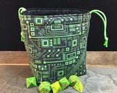 Cyberpunk Circuit Board Dice Bag