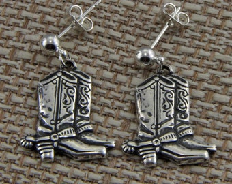 Handmade Western Boots Silver Post Earrings Cowboy Boots With Spurs Oscarcrow