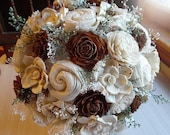Rustic Cedar Rose Bouquet, Cedar Roses, Sola Flowers, Burlap, Lace, Rustic Wedding Bouquet. Made to Order.
