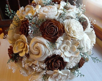 Will ship in 4 weeks ~~ Rustic Cedar Rose Bouquet, Cedar Roses, Sola Flowers, Burlap, Lace, Rustic Wedding Bouquet. Made to Order.