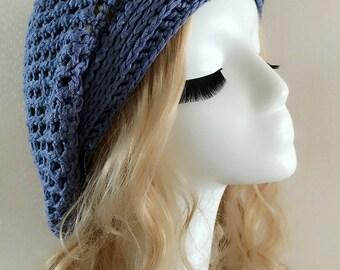 Super Soft Crochet hat----lightslategray-001-6
