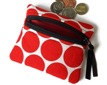 Red circles coin purse ,  change purse , zipped card pouch