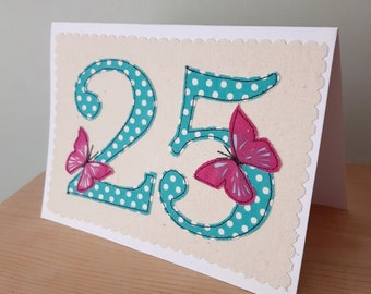 age 25 birthday card, 25th anniversary card, number 25, 25th Birthday