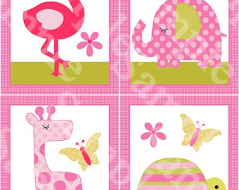 "Set of 4  Unframed ""Snooz N' Safari Girl Animals/Giraffe/Elephant/Turtle/Butterfly""  8x10 inch Nursery Wall Art Prints Children Kids Decor"