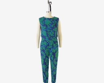 Vintage 60s Pant Suit / 1960s Bright Floral Sleeveless Shirt Top & High Waist Pants Set S