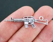 6 Machine Gun Charms Antique Silver Tone Rifle Charm 2 Sided - SC5096