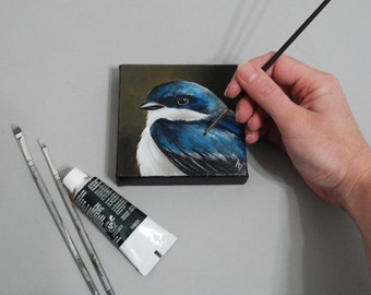 Tree Swallow art, blue bird painting, 4x4 square painting