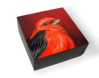 Scarlet Tanager painting, red bird art, birdwatching gift, monochrome red painting