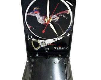 """Hard Drive Clock with Computer Parts """"Roadrunner"""" Dial. """"Running around crazy at work?"""""""