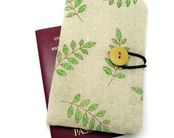 Passport sleeve, passport cover, fabric passport case, pouch - Garden leaves (Ps8)