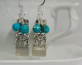 Vintage Spoon Earrings with Faceted Turquoise........no. 551T