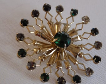 Vintage brooch, green brooch, retro brooch, crystal brooch,classic retro, jewelry