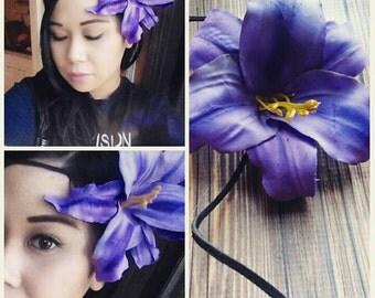 Purple Hawaiian Single Flower Headpiece