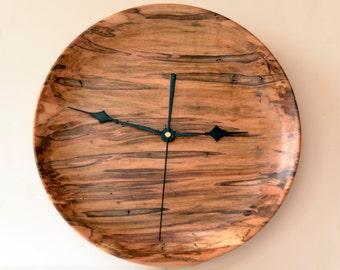 "Large Wood Wall Clock, Ambrosia Maple Clock, Turned Wood Wall Clock, 14"" Clock"