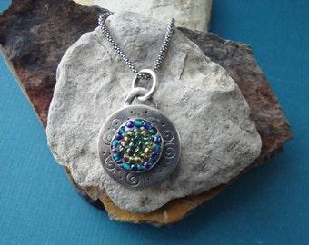 Bead Mosaic Sterling Bezel Pendant /Handmade