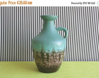 Summersale Vintage East German Pottery  Aqua Green Handled Vase by Strehla
