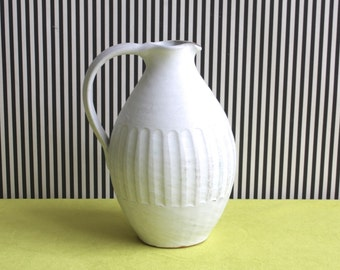Handmade Studio Pottery Matte White Pitcher Vase