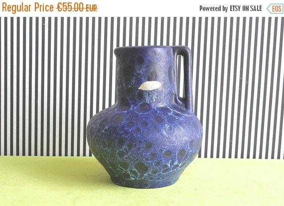 SALE Vintage West German Pottery Handled Fat Lava Blue Vase by Kreutz Keramik