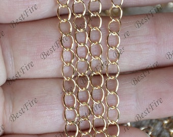 24K Gold filled Brass Link Chain, Jewelry Chain metal chains,brass chain,jewelry findings,charm chain findings
