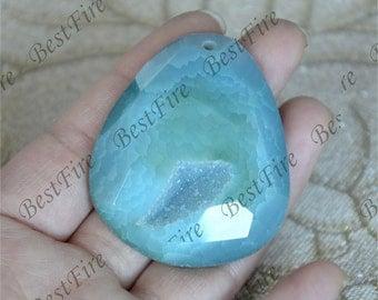 Charm Geode Druzy Crystal Pendant,Freeform Agate Druzy Slice Pendant , Drusy Pendant Connector Link