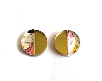 APSE Stud Earrings in Pink Marble - Marble Earrings, Crescent Earrings, Gold Earrings, Half Moon Earrings, Modern Earrings, Post