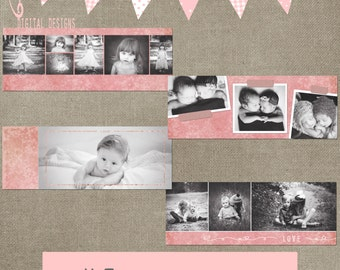 Facebook Timeline pink flowers Set of 4 Cover Collage Photographer Photography Template PSD - Photo INSTANT DOWNLOAD cs and Elements