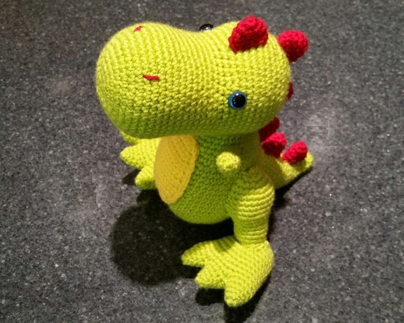 READY TO SHIP T-Rex Dinosaur Crochet Stuffed Animal Amigurumi Doll Toy - Baby Shower Nursery Gift - Prehistoric Tyrannosaurus Rex