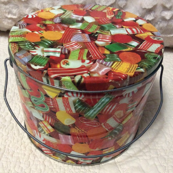 Vintage hard candy christmas tin container pail handle bucket for Christmas tin pails