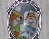 Disney Robin Hood Silver Filigree Pendant Necklace Vintage Tell A Tale Book