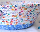 Handmade  Candle Holder, Hand Coiled Fabric Basket, Paw Print Fabric Bowl, Modern Yarn Bowl, Cottage Chic Makeup Organizer