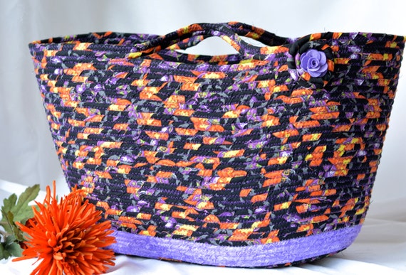 Fall Decorative Basket, Purple Tote Bag, Handmade Storage Basket, Lovely Shopping Basket, Lavender Decoration