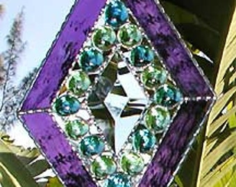 "Stained Glass Suncatcher - Sun-Catcher - Glass Nugget Stained Glass Sun Catcher - Glass Bevel, Handcrafted - 5 x 8""- 9706-PU"